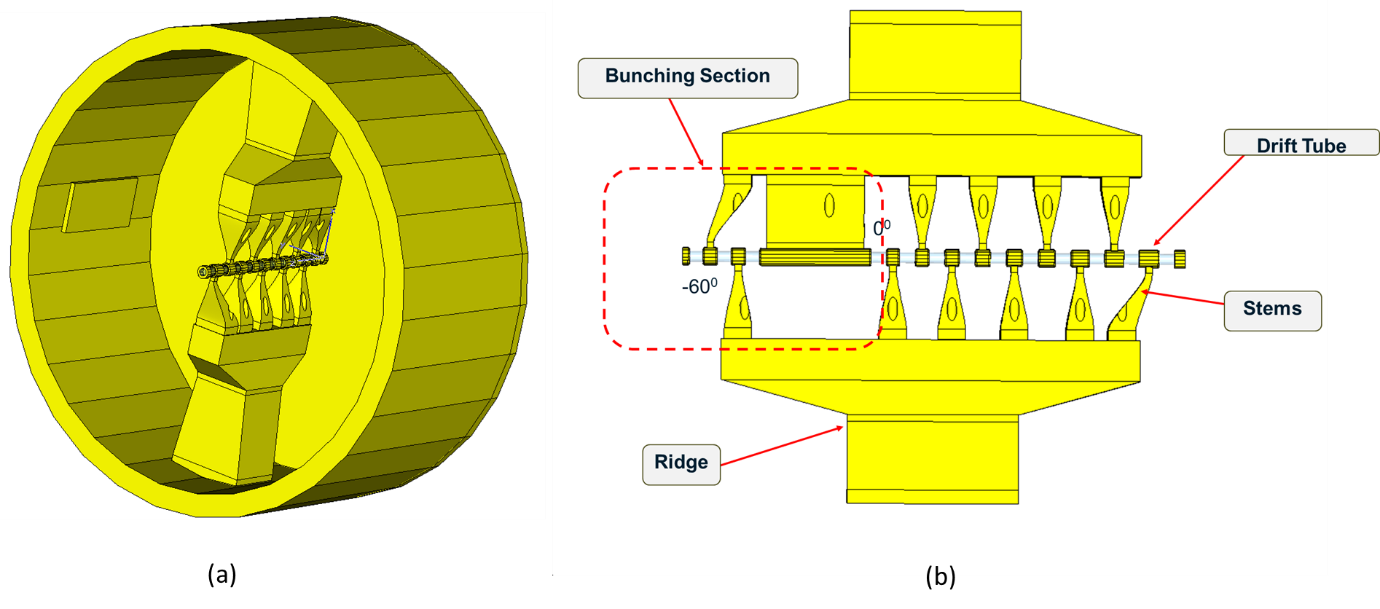 A 3D view of the Inter-digital H type drift tube linac structure