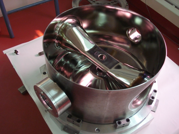 One of the SSR1 resonators in its final stages of fabrication.