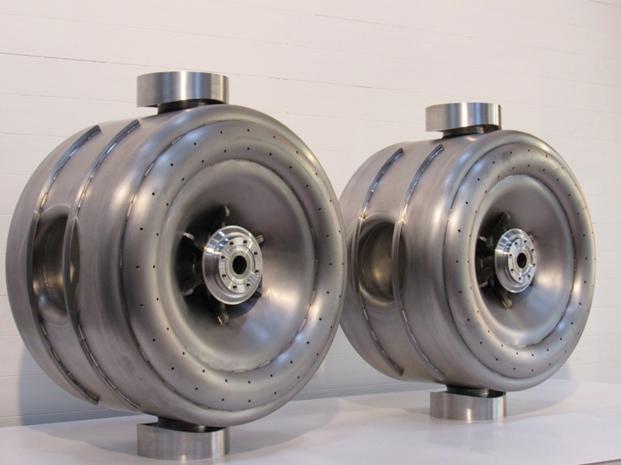 The two SSR1 bare niobium resonators before their shipment to Fermilab.