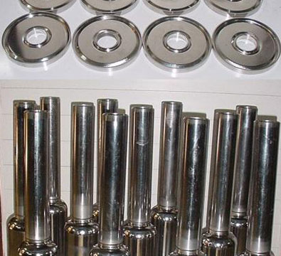 Electropolished top flanges and central conductors from the production lot-QWRs at IUAC (March 2008).