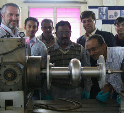 Visit by Fermilab Team to see the development of the 1.3 GHz TESLA-type niobium cavities jointly by RRCAT and IUAC (February 2011).