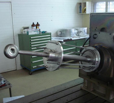Set up showing the electron beam welding of the central conductor to the top flange for the low beta resonator (March 2012).