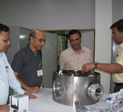 Visit by Dr P D Gupta, Director-RRCAT and Dr Amit Roy, Former Director-IUAC, to see the progress in the development of the SSR1 single spoke resonators (May 2014).