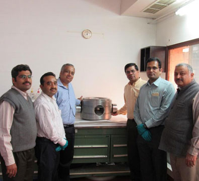 Official handing over of the first SSR1 single spoke resonator built by IUAC to Dr Shekhar Mishra from Fermilab (March 2015).