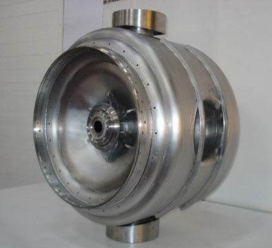 One of the SSR1 single spoke resonators after the attachment of the Nb-SS transition ring at IUAC (November 2017).