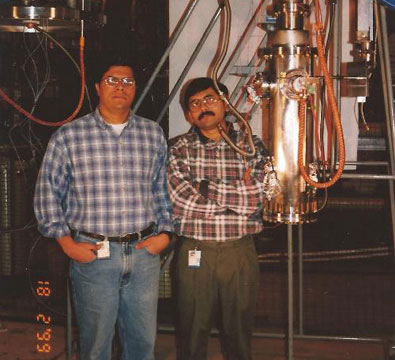 Cold test of a QWR from the production lot at Argonne National Lab (February 1999).